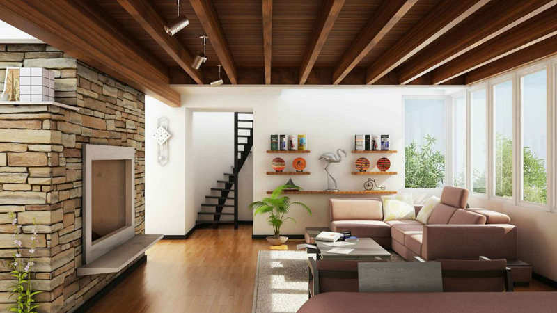 casa linda com pedras e teto de madeira