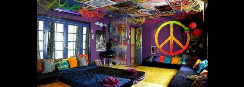quarto com estilo hippie grande
