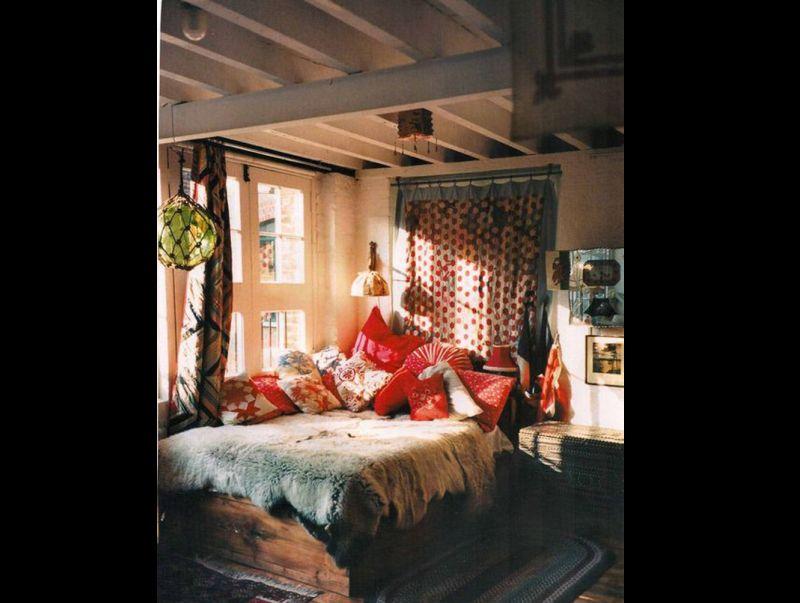 quarto com estilo hippie singelo