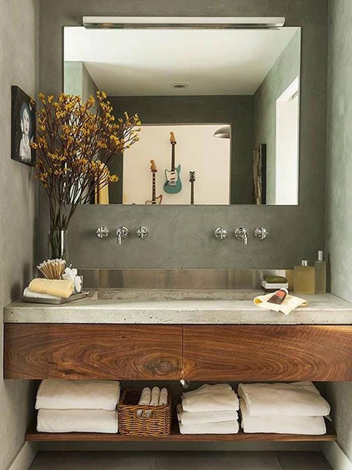 lavabo parede com concreto aparente