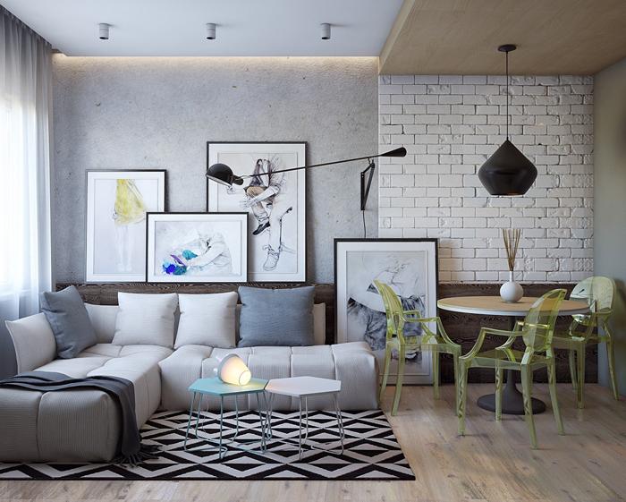 parede com concreto aparente e tijolos