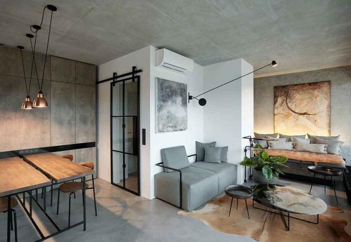 parede com concreto aparente nos ambientes