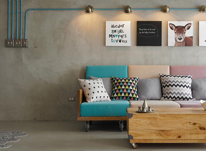 parede com concreto aparente e madeira