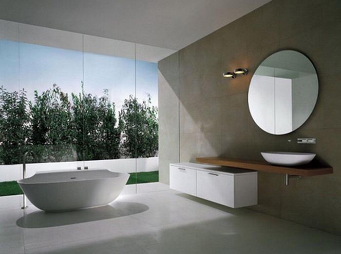 banheiro futurista com parede com concreto aparente