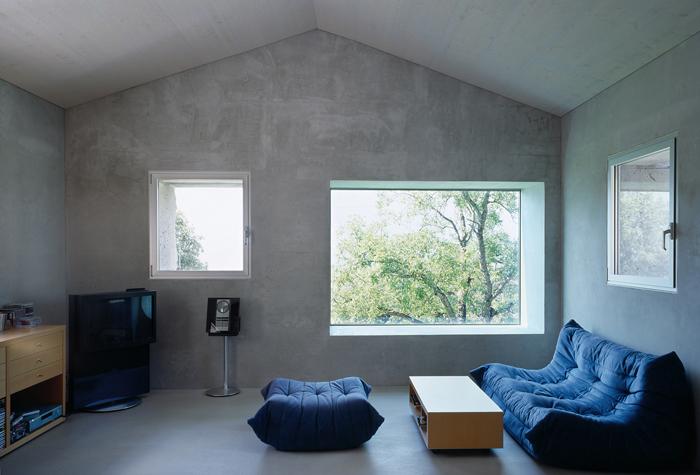 casa simples com parede com concreto aparente