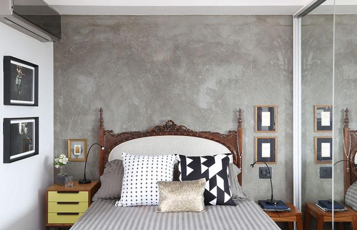 cabeceira com parede com concreto aparente