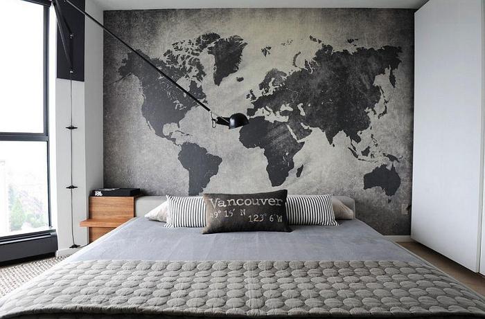 mapa mundi na parede com concreto aparente