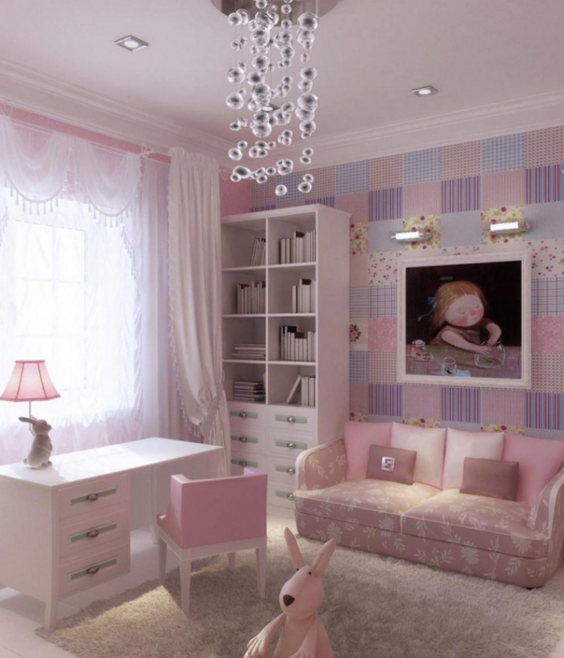 quarto infantil com papel de parede