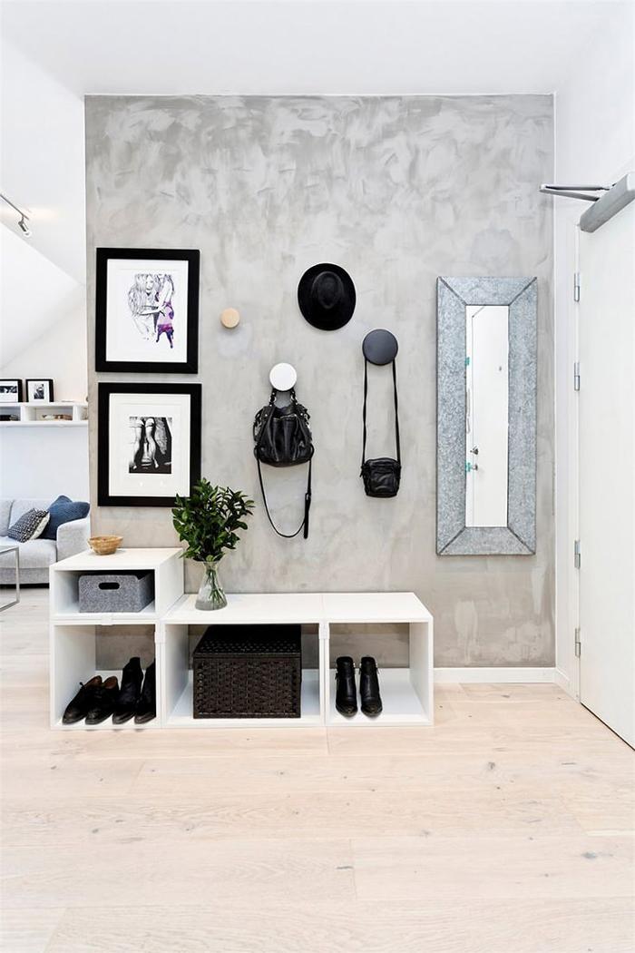 preto e branco na parede com concreto aparente