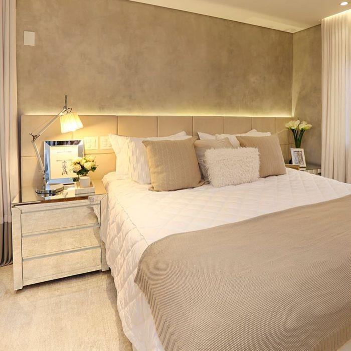 quarto de casal com parede com concreto aparente