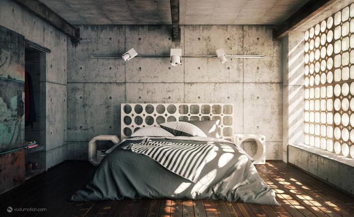 parede com concreto aparente no quarto