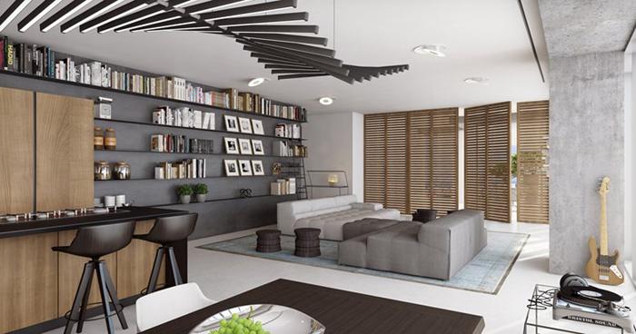 decoração moderna com parede com concreto aparente