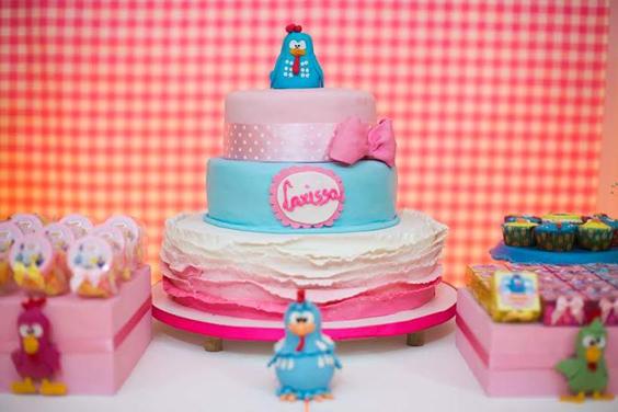 festa da Galinha Pintadinha bolo rosa