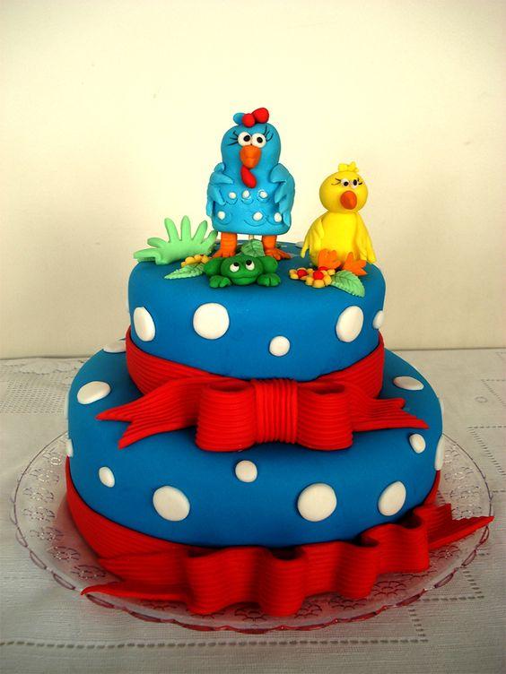 festa da Galinha Pintadinha bolo com laço