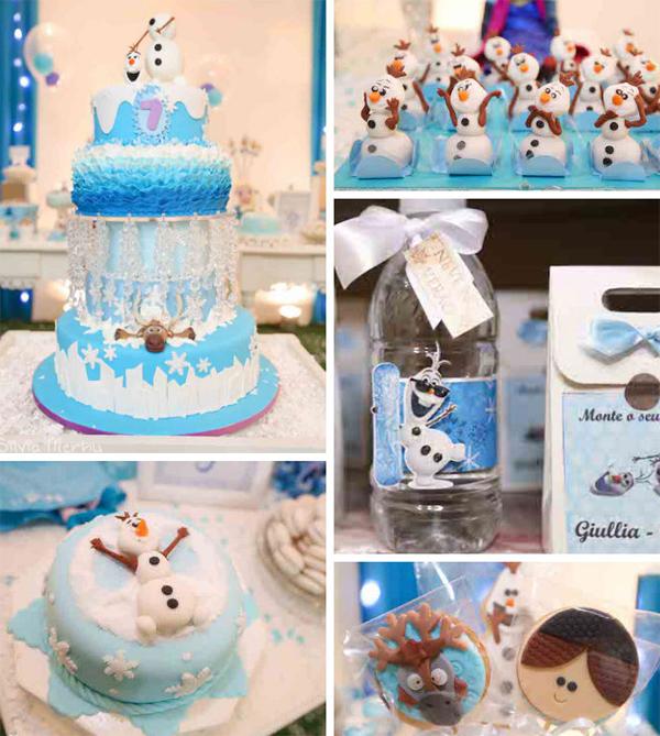 festa Frozen com boneco olaf