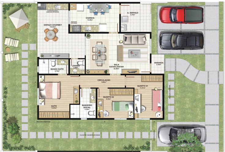 projeto de casa 3 carros