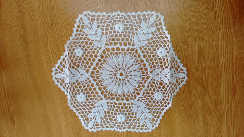 sousplat em croche hexagono