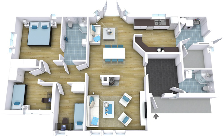 projeto de casa azul