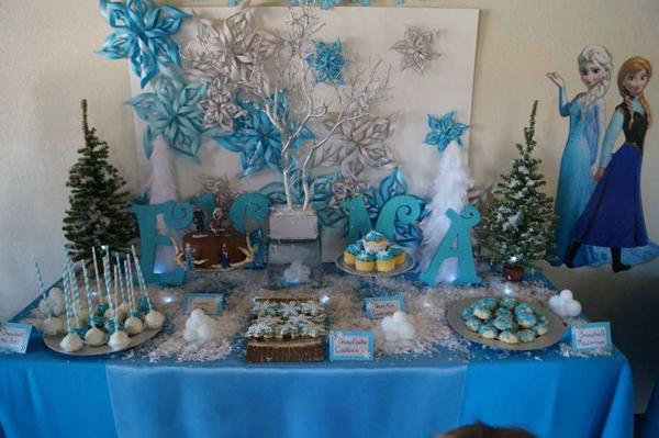 festa Frozen com painel
