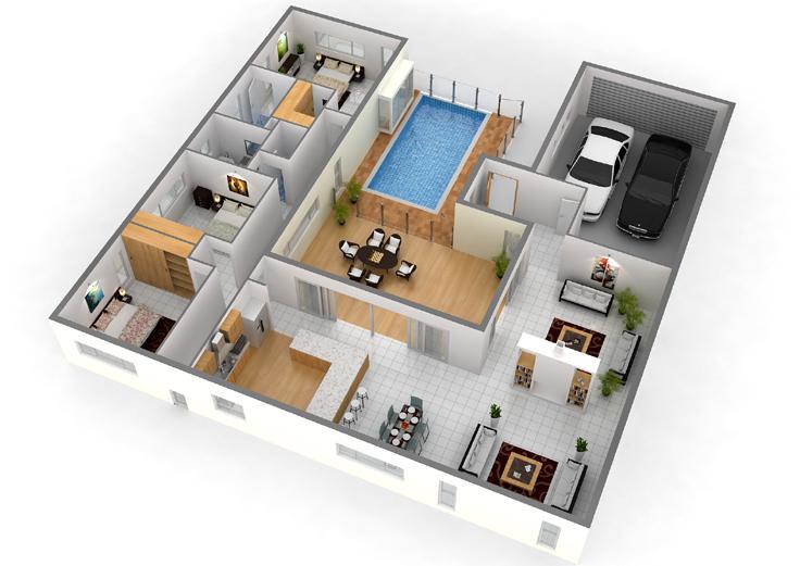 piscina e closet projeto de casa