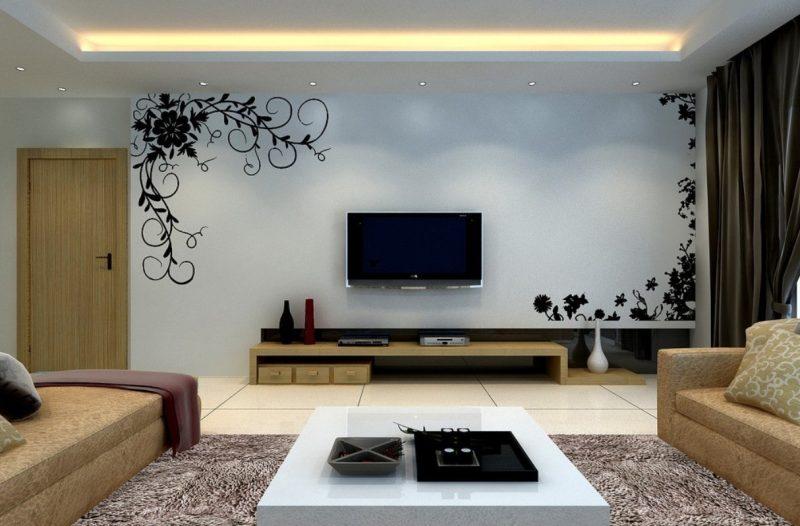 sala de tv com adesivo