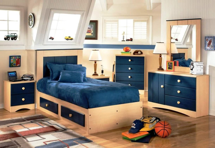quarto de solteiro azul