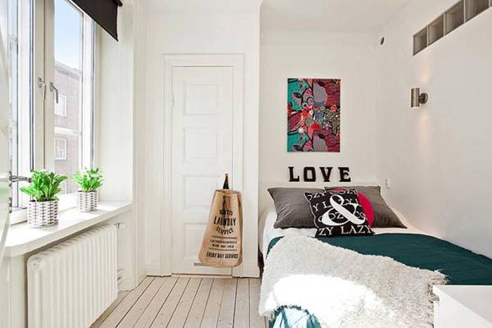 quarto de solteiro com decor artesanal