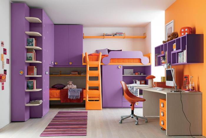 quarto de solteiro multicolorido