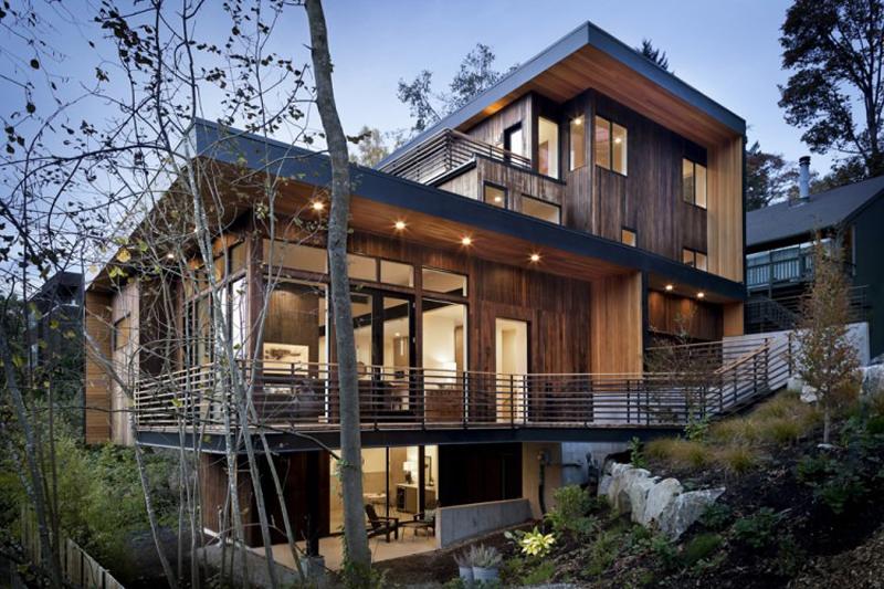 casa com madeira bonita