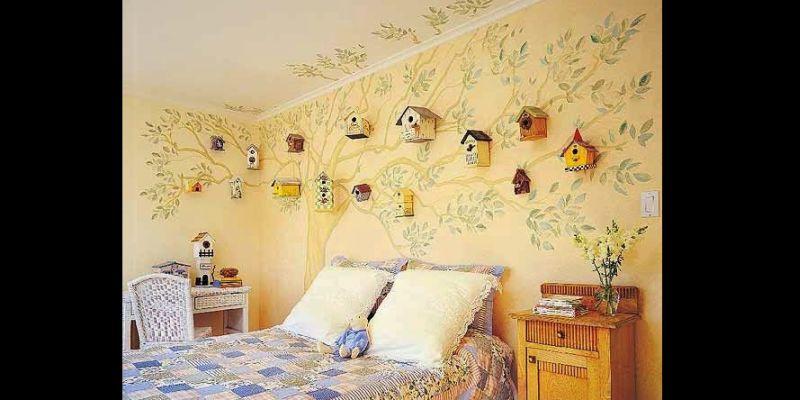 parede decorada com casinhas