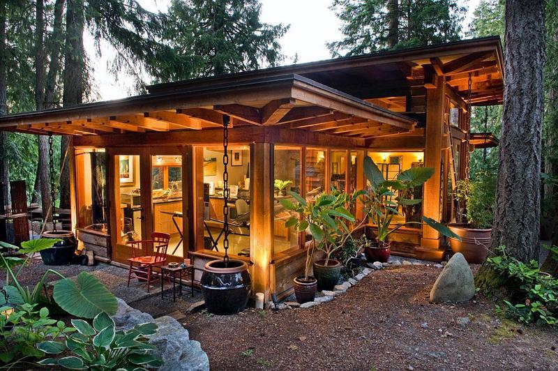 casa com madeira luz