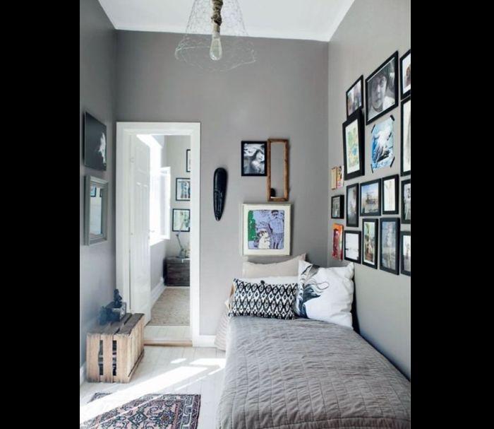 quarto de solteiro cinza escuro