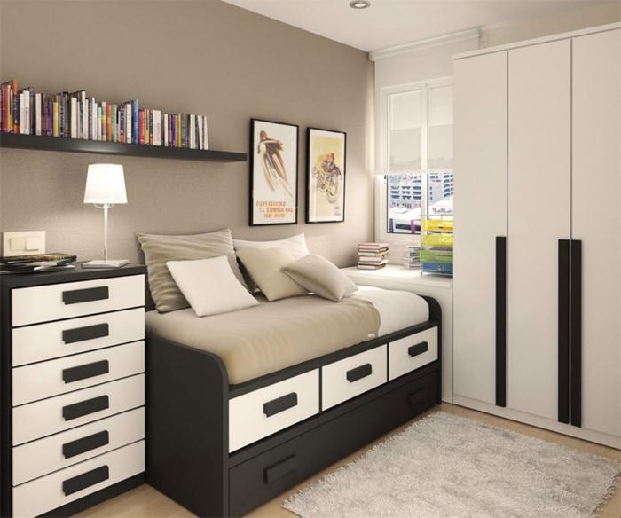 quarto de solteiro preto e branco