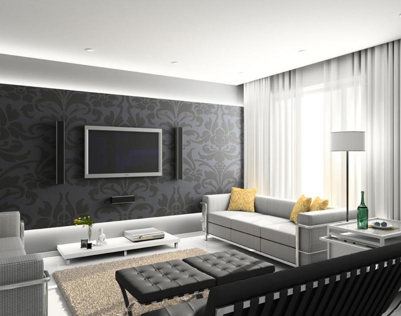 sala de tv papel de parede