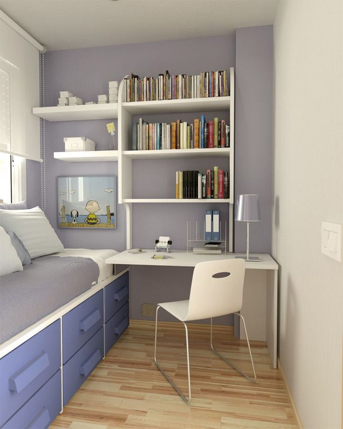 quarto de solteiro com gavetas