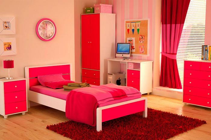 quarto de solteiro rosa