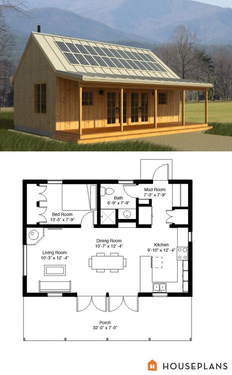 casa com madeira plantas