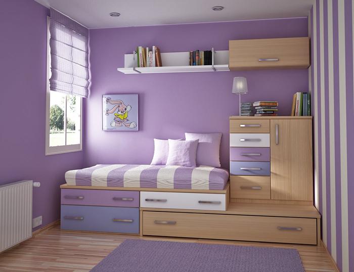 quarto de solteiro violeta