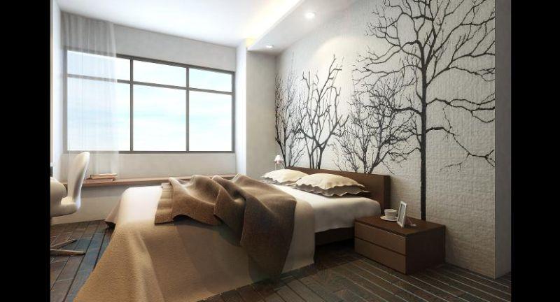 parede decorada com pintura arvore