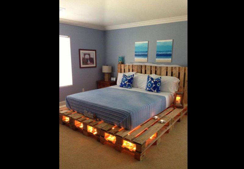 movel de pallet cama iluminada