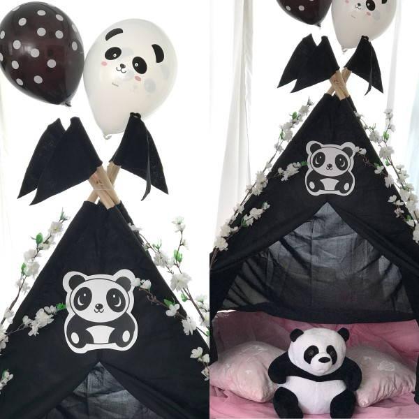 festa tema panda preto e branco