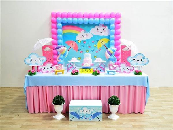 festa infantil decoração chuva de amor