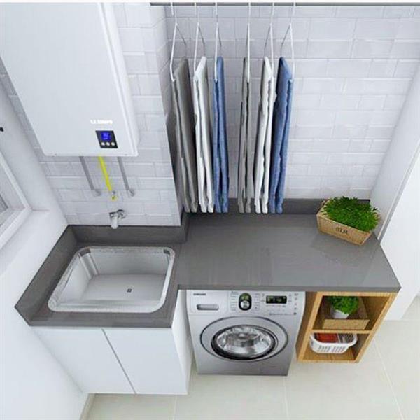 lavanderia com cabideiro