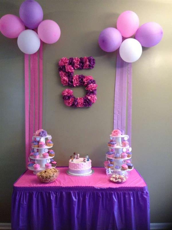 festa menina rosa com lilas