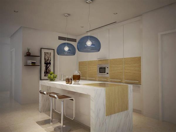 decoracao-cozinha-americana-luminarias-de-teto-azul