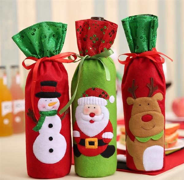porta vinho de feltro natal