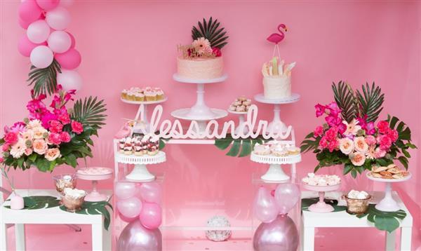 festa tropical rosa