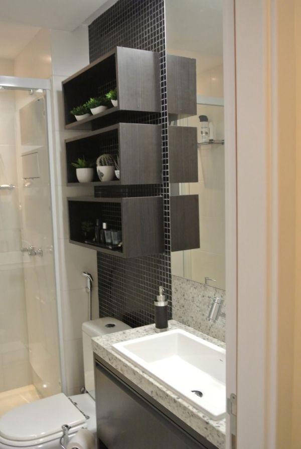 Decoração com nichos na parede para banheiro