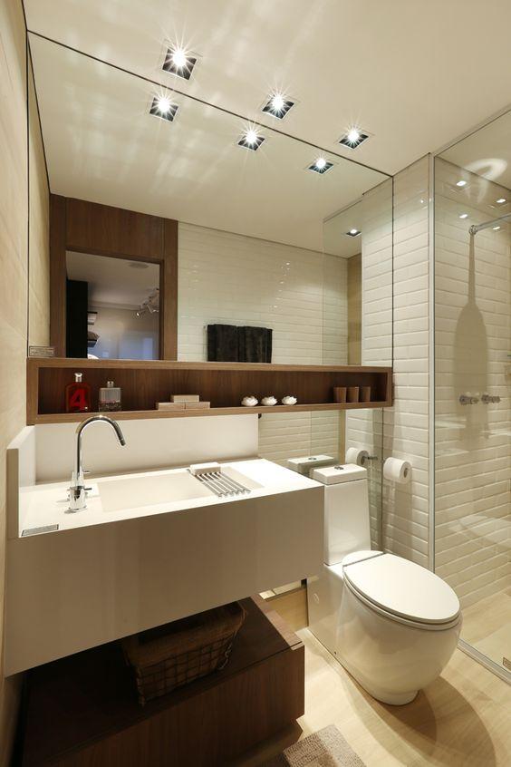 Banheiros decorados com nichos de madeira fotoss decor for Ver pisos decorados