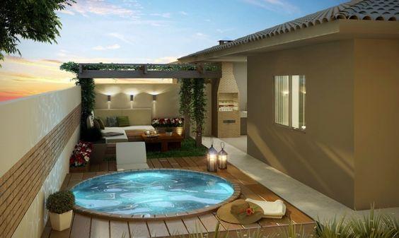 Decora o de rea externa com churrasqueira e piscina - Precio pintar piso 60 metros ...